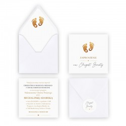 ZAPROSZENIE na Chrzest personalizowane Złote Stópki (+koperta z wnętrzem+naklejka)