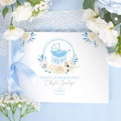 KSIĘGA Pamiątkowa Chrztu Świętego Błękitny Wózeczek Z IMIENIEM (+wstążka w kropki błękit)