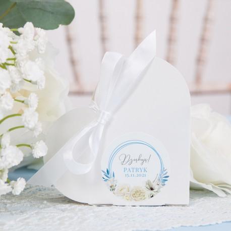 PUDEŁECZKA Serca na Chrzest Błękitny Wózeczek (+etykiety z imieniem+białe wstążki) 10szt
