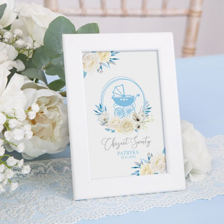 TABLICZKA na stolik na Chrzest Błękitny Wózeczek (+ramka)