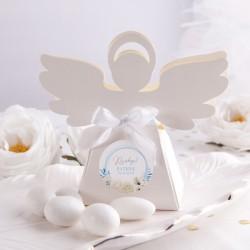PUDEŁECZKA Aniołek na Chrzest Błękitny Wózeczek 10szt (+etykiety z imieniem+białe wstążki)