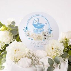TOPPER na tort na Chrzest personalizowany Błękitny Wózeczek Z IMIENIEM