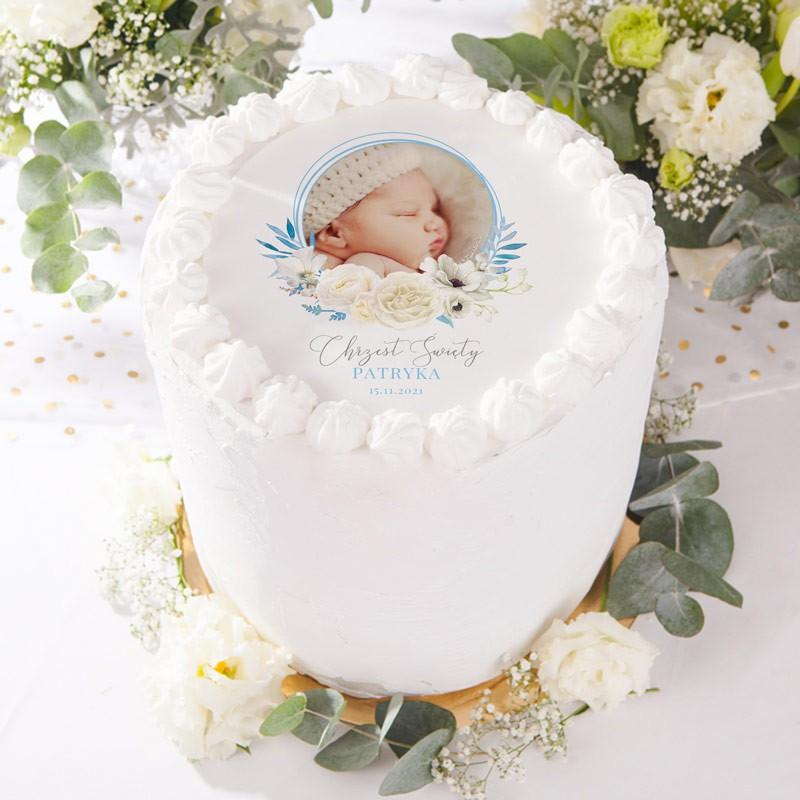 opłatek na tort ze zdjęciem dziecka dla chłopca