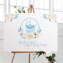PLAKAT na Chrzest Kwiatowy Wózek BŁĘKIT Z IMIENIEM 50x70