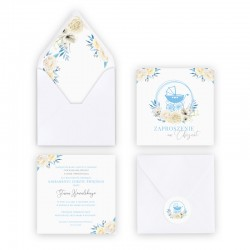 ZAPROSZENIE na Chrzest personalizowane Błękitny Wózeczek (+koperta z wnętrzem+naklejka)
