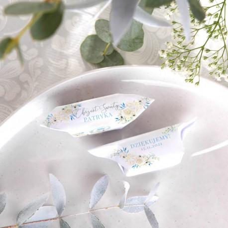 KRÓWKI podziękowanie na Chrzest Kwiatowy Wózek BŁĘKIT Z IMIENIEM 20szt