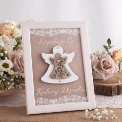 RAMKA podziękowanie z aniołkiem dla Chrzestnych/Dziadków