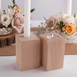 ŚWIECZNIK drewniany na prostą świecę i tealight NATURALNY 10cm