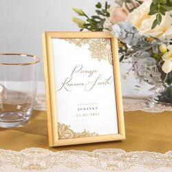 TABLICZKA na stolik Komunia w Złocie (+złota metalowa ramka)