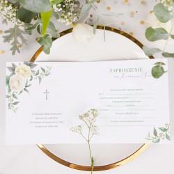 ZAPROSZENIA komunijne Kremowe Kwiaty 10szt (+koperty)