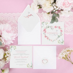 ZAPROSZENIE na Chrzest personalizowane Różowe Serce (+koperta z wnętrzem+naklejka)