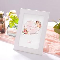 TABLICZKA na stolik Rosegold Flowers (+biała ramka na podstawie)
