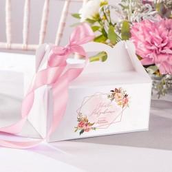 PUDEŁKA na ciasto z rączką Z IMIENIEM Rosegold Flowers 12szt