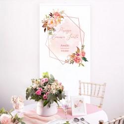 KAKEMONO personalizowane + listwa 60x150cm na Komunię Rosegold Flowers