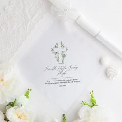 CHUSTECZKA SZATKA do Chrztu z imieniem i datą Delikatne Kwiaty BIAŁA