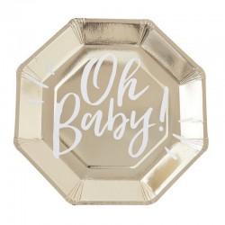 Talerzyki papierowe Oh Baby Złote Baby Shower 25cm 8szt