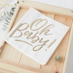 Serwetki papierowe ze złotym napisem Oh Baby Baby Shower 16szt