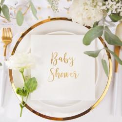 Serwetki ze złotym napisem Baby Shower 33x33cm 20szt Białe