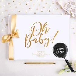 Pamiętnik Przyszłej Mamy Oh Baby! Baby Shower z imieniem(+złota wstążka) CZARNE KARTKI