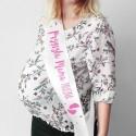 SZARFA na Baby Shower z imieniem Przyszła Mama różowy napis