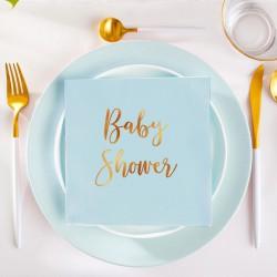 Serwetki ze złotym napisem Baby Shower 33x33cm 20szt błękitne