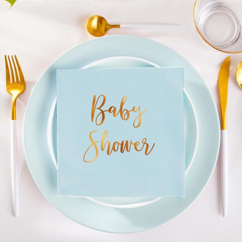 Niebieskie serwetki na Baby Shower