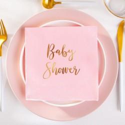 Serwetki ze złotym napisem Baby Shower 33x33cm 20szt Jasnoróżowe