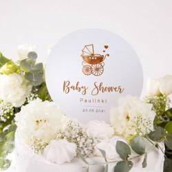 Topper na tort Złoty Wózeczek Baby Shower z imieniem