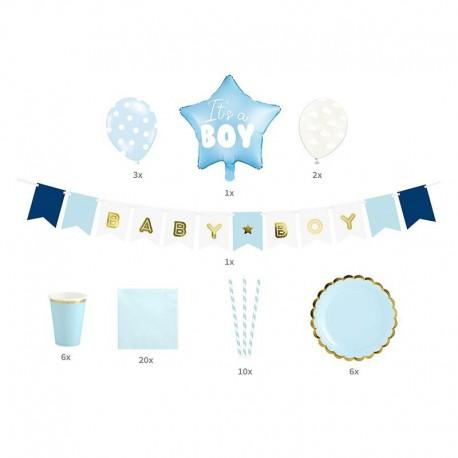 Zestaw dekoracji na Baby Shower Niebieski It's a boy