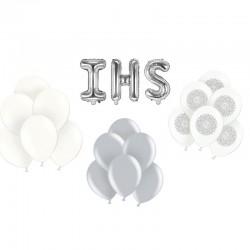 ZESTAW balonów na Komunię BIAŁO-SREBRNY -25%