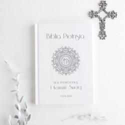 KSIĘGA Pamiątkowa Chrztu Świętego ze złotym napisem ecoskóra Różowy Wózeczek Z IMIENIEM