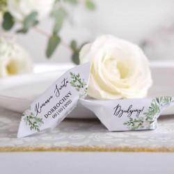 KRÓWKI podziękowanie na Komunię Delikatne Kwiaty Z NADRUKIEM 20szt