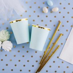 KUBECZKI papierowe na Baby Shower dla chłopca niebieskie 6szt ZŁOTE BRZEGI