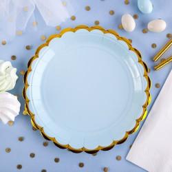 TALERZYKI niebieskie na przyjęcie 18cm 6szt ZŁOTE BRZEGI