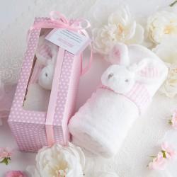 PAMIĄTKA Chrztu Świętego KOCYK z króliczkiem w pudełku RÓŻOWY