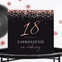 ZAPROSZENIA na 18 urodziny Rosegold Black 10szt (+koperty)