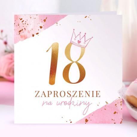 ZAPROSZENIA na 18 urodziny Z Koroną PINK 10szt (+koperty)