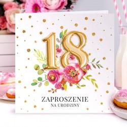 ZAPROSZENIA na 18 urodziny Balony i Kwiaty 10szt (+koperty)