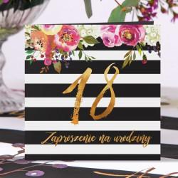 ZAPROSZENIA na 18 urodziny Flowers&Stripes 10szt (+koperty)