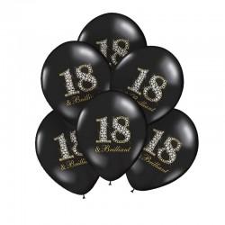 BALONY na 18 czarne Glamour 30cm 6szt
