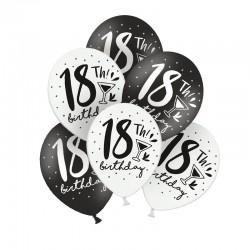 BALONY na 18 czarno-białe MIX 30cm 6szt