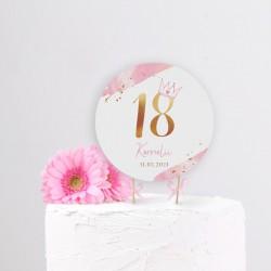 TOPPER na tort na 18 Z IMIENIEM Z Koroną PINK
