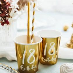 KUBECZKI na 18 urodziny Złote 6szt