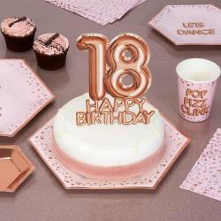 TOPPER na tort na 18 urodziny GLAMOUR Rosegold