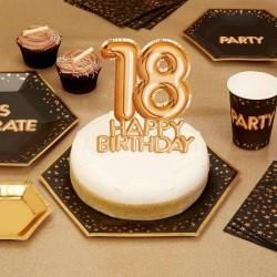 TOPPER na tort na 18 urodziny GLAMOUR Złoty