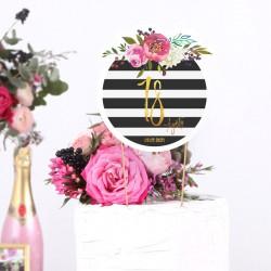 TOPPER na tort na 18 Z IMIENIEM Flowers&Stripes