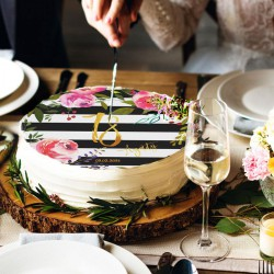 OPŁATEK na tort na 18 Z IMIENIEM Flowers&Stripes Ø20cm