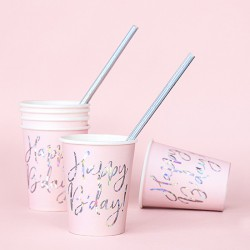 KUBECZKI papierowe na urodziny Happy Birthday HOLO 6szt