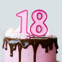 ŚWIECZKI urodzinowe na 18 7cm RÓŻOWE