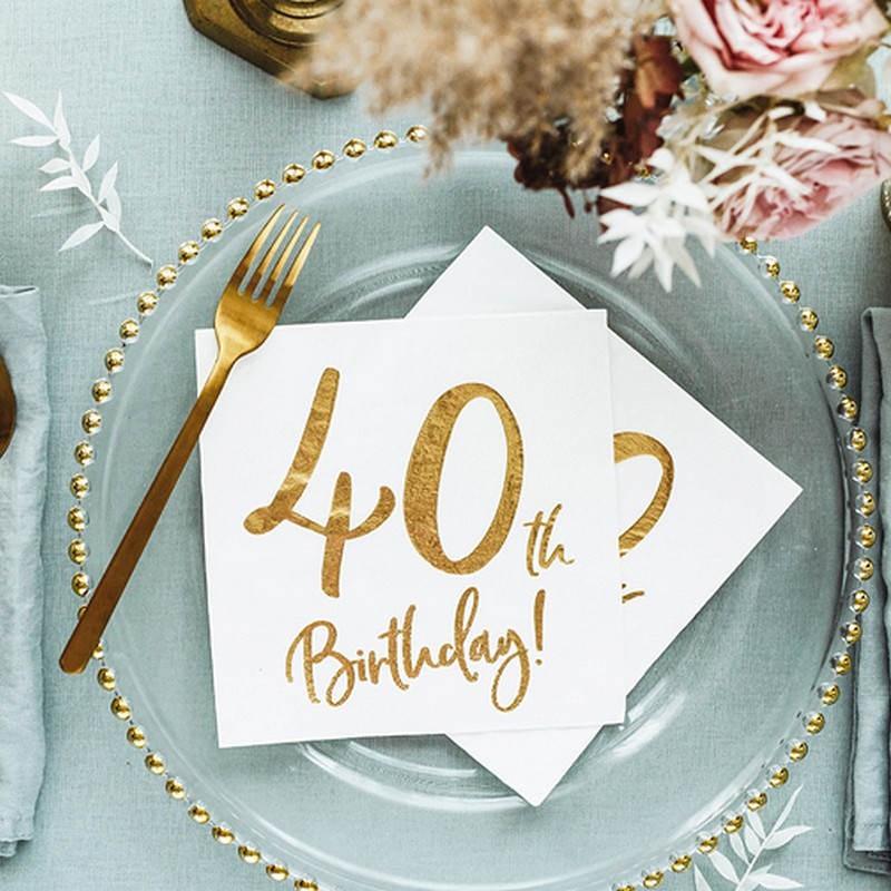 Serwetki na 40 urodziny z napisem